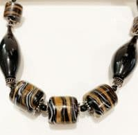 Spectacular Black Hand Blown Murano Glass Necklace